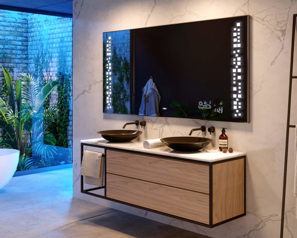 Bathroom LED Lighted Mirror WoodenFrame L38