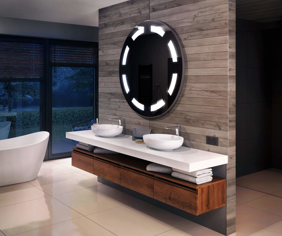 Bathroom LED Lighted Mirror WoodenFrame L34