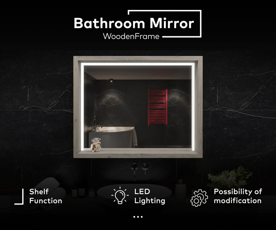 Bathroom Mirror with LED light - WoodenFrame
