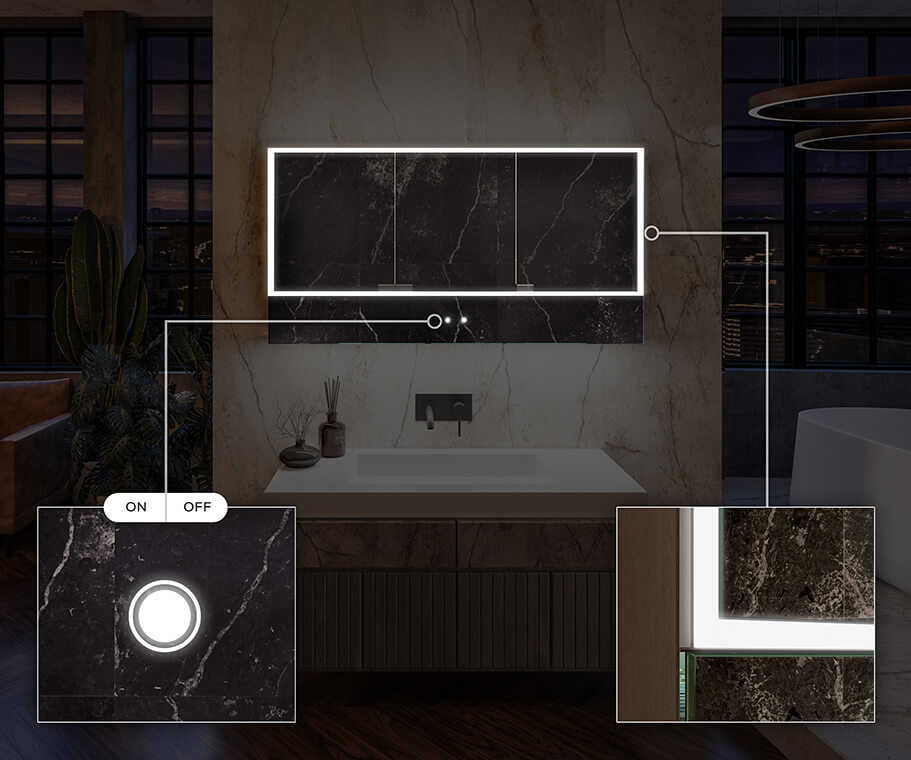 LED Bathroom Cabinet Lily - 3-door
